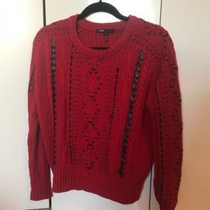 Red Thick Sweater With Black Detailing